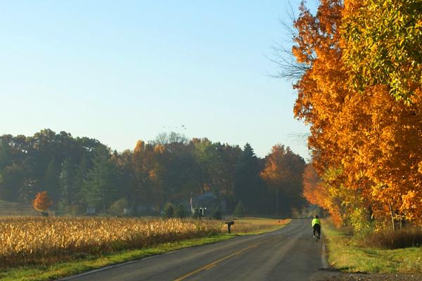 Enjoying fall colors by bike